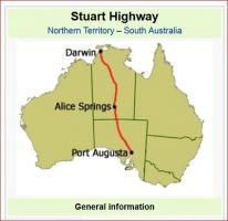 The Australian Stuart Highway from Adelaide to Darwin