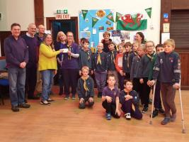 Cheque presentation to 1st Knighton Scouts