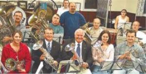 Presentation of cheque to Abergavenny Borough Band in October 2003
