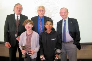 Popular Winners Lucy Gormley and Jawaad Mehmood with Francis Donaghy (Head Teacher), Bob Holmes and David Brown