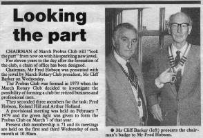 March Rotary club helping to form the March Probus club in c1979