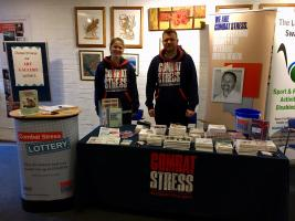 Claire Gayton (Supporter Care Assistant) and Joe Curl (Volunteer and Community Fundraising Officer) from Combat Stress, at the Combined Charities Christmas Fair organised by Leatherhead Rotary Club at Leatherhead Theatre on Saturday 3rd November 201