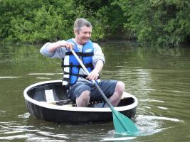 Coracle Man Steve Cox of N-able our nominated good cause for the 2020 Walk.