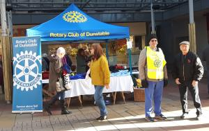 The picture shows our stall erected in the Quadrant Shopping Centre, Dunstable, Bedfordshire.