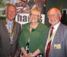 Club President Peter Jackson; Yvonne Sonnen; Asst District Gov John Hammond