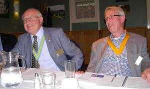 Letchworth Howard President-Elect Tony Silver (right) and John Hammond, Assistant Governor, sharing a joke at the Assembly
