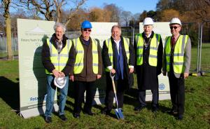 L – R Jack Walter (President Luton), Peter White (President Luton Chiltern),  DG Dave, with the spade, Michael Dolling (President Luton North), Andy Calvert (President Luton Someries)