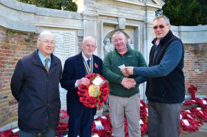 Secretary Neil Guttridge, President David Blundell, Chairman or Royal British Legion Royston Branch Chris Murphy, and (presenting cheque) David Smyth, Treasurer