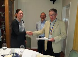 President Graeme formally welcomes Natalie, together with her proposer Martin Berry