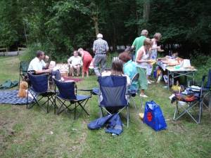 An evening picnic and quiz in Bourne Woods on 20th July 2010. It was eyes down and look in for good food and refreshment. Notice the two teddy bears who joined in with us?