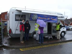 On a wet Saturday morning, we set up a camper van in Bourne Market and approximately 60 members of the public took advantage of  free blood pressure monitoring by our resident nurse.