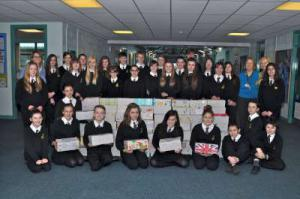 Pupils at the Royal Wootton Bassett Academy bring their filled Shoeboxes for disadvantaged children abroad.