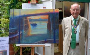 Jim Stevens, Club President 2014-2015 with the painting 'Sanctuary'