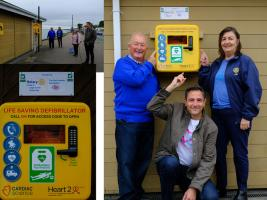 Bob Page, Karl Lansley and Loretta Andrews present the first of 4 Defibrillators already installed along Southend Seafront in Phase 1 of project SEEDIP. Phase 2 will commence in 2021.
