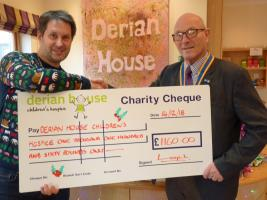 President John Wright presenting a cheque to Derian House