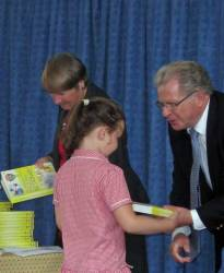 5 and 11 July 2012 - Club presents dictionaries to infant school leavers