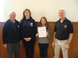 Recognition for Dornoch Academy Interact Club.