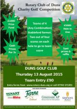 Duns Charity Golf Competition 2015 Poster for 13 August 2015