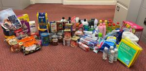 Dundee Rotaract donated this array of provisions to the Dundee Food Insecurity Network