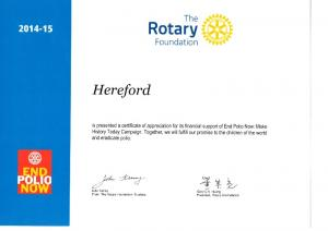 Certificate for Donations for End Polio Now