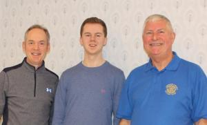 Ross is pictured with his father Ian and John Whitfield the Youth and Vocational Convenor for Aberdeen Deeside Rotary Club.