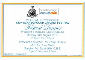 Scarborough Cricket Club Festival Dinner - annual event