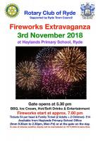 Ryde Rotary fireworks party 2018 poster
