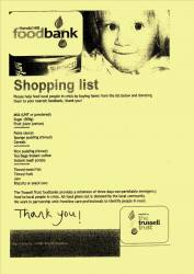 Harold Hill Foodbank Shopping List