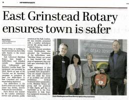 Meridian Rotary Club Help to Make East Grinstead Safer