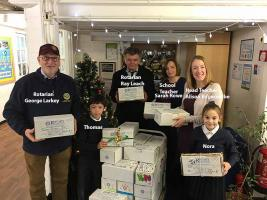Rotary Shoe Box Collection by Upminster Junior School 2016
