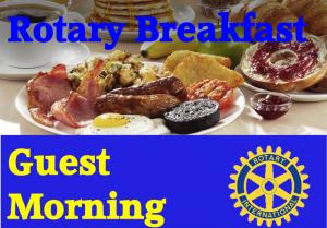 Breakfast shot with Rotary Breakfast Guest Morning & logo