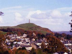 Photo of Sir John Barrow monument on Hoad Hill above the town.
