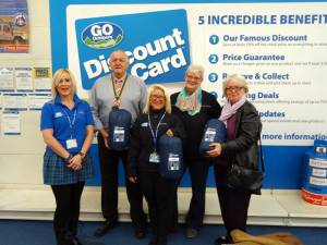 Members of staff from Go Outdoors with Rotary President Jim Rawson, Soroptimist President Cynthia Horrocks and Trish Green, Manager of the Brick receiving the sleeping bags.