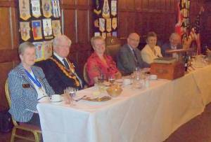 Sheila Minhinick, RIBI President John Minhinick, Hazel Hedges, President Chris Hedges, Sheila Grainger, District Governor Stewart Grainger
