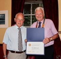 Gavin Scott receives the Paul Harris Fellow Award