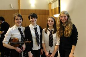 Winners and runners-up, L to R: Laura Smith (violin), Anna Barton (voice), Mhairi Mackay (voice) and Olivia Churchfield (flute)