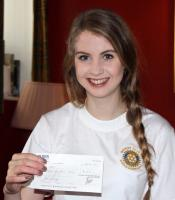 Amy receiving cheque from Kirkcudbright Rotary