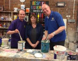 President of Leeds Rotary, Keith Harbage at Seagulls paint store