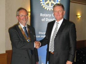 New president of the Rotary Club of Dundee David Laing was welcomed by outgoing president Robert Dunn.