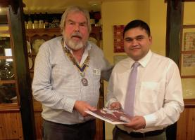 Pensford Postmaster Umang Patel becomes the newest member of Chelwood Bridge Rotary Club.