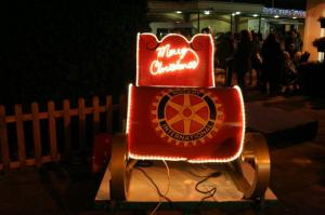 The new float on its first outing, switching on the Tree lights in the shopping precinct.