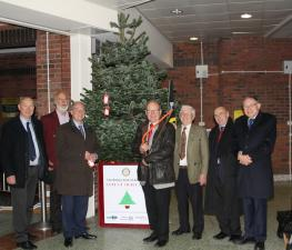 Erecting the tree at the Morrisons store in Aldridge.