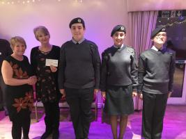 President Elect Jan presenting a cheque for £200 to Newcastle 435 squadron in recognition of their support with our Christmas collection.