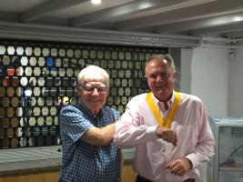Robert Easthope [President Elect] receives his gong from President Michael Smith