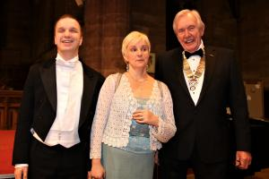 Denise Leigh with Stefan Andrusyschn and Rotary President 2018-19 Neil Smith at last years Concert