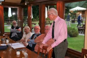 Dinner & visit from cycling Rotarian Dick Quinby at the Baron
