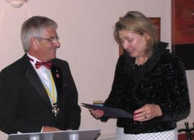 The Countess of Carnarvon receiving the Paul Harris Award
