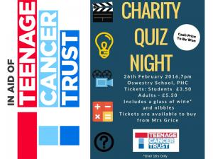 Oswestry School Interact Quiz for The Teenage Cancer Trust