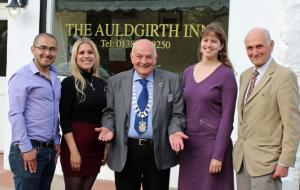Picture shows (L to R) President Derek Clark and Rotarian Robin McClelland with students Hugo, Wilma and Kirsten.