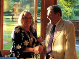 Rotary club handover from Ivan to Christine